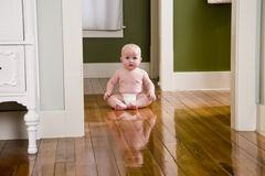 Chubby seven month old baby at home on floor. Chubby seven month old baby at home sitting on wood floor royalty free stock photos