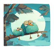 Chubby Sleepy Birds royalty free stock photos