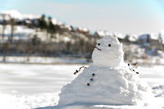 Chubby snowman. And de focused background Royalty Free Stock Photos
