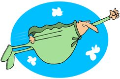 Chubby superhero flying in the sky Stock Photos