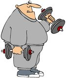 Chubby weightlifter. This illustration depicts a chubby man in sweats lifting weights Stock Images