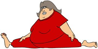 Chubby woman doing the splits. This illustration depicts a chubby woman in tights doing the splits Royalty Free Stock Images