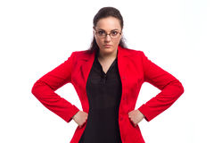 Chubby Woman In Red Jacket