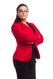 Chubby Woman In Red Jacket Stock Image