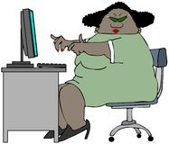 Chubby woman sitting at a desk. This illustration depicts a chubby black woman sitting at a desk with a computer and keyboard Stock Photos