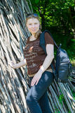Chubby young woman. In summer outdoors. location Azerbaijan, Gusar district stock images