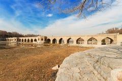 Chubi Bridge in winter seasonm, Isfahan City, Central Iran, Persia. Stock Images