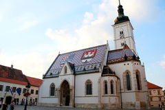 Chuch di St Mark, Zagabria, Croatai Immagini Stock