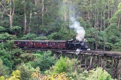 Chuchać Billy parowego pociąg w Dandenong Rozciąga się obraz stock
