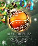 Chuchería anaranjada de la Navidad con las ramas y la malla del abeto Foto de archivo