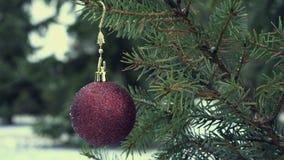 Chuchería de la Navidad que cuelga en el árbol de abeto nevoso 4 almacen de video