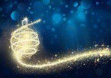 Chuchería de oro abstracta de la Navidad en noche ilustración del vector