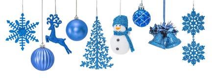 Chucherías azules del Año Nuevo de la Navidad Imagen de archivo libre de regalías