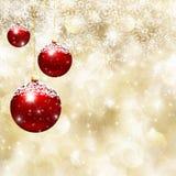 Chucherías de la Navidad y fondo del copo de nieve Foto de archivo libre de regalías