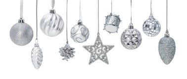 Chucherías de plata del Año Nuevo de la Navidad Fotos de archivo libres de regalías