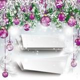 Chucherías púrpuras congeladas la Navidad de las ramitas verdes 2 banderas stock de ilustración