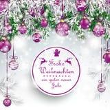Chucherías púrpuras congeladas la Navidad Frohe Weihnachten de las ramitas verdes ilustración del vector