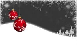 Chucherías rojas de la Navidad en fondo del invierno libre illustration