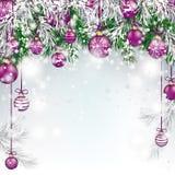 Chucherías verdes congeladas la Navidad de la púrpura de las ramitas del abeto stock de ilustración