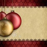 Chucherías y espacio de la Navidad para el texto Imagen de archivo