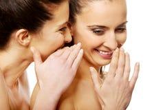 Chuchotement de deux femmes de beauté Photo stock