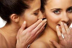 Chuchotement de deux femmes de beauté Image libre de droits