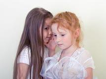 Chuchotement de deux petites filles Photo stock
