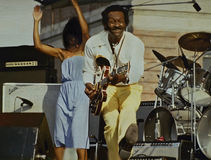 Chuck Berry. Colorful Rock and Roll legend Chuck Berry is joined by daughter Ingrid Berry at a Rock and Roll Spectacular at the foot of Navy Pier during Royalty Free Stock Image