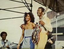 Chuck Berry. Colorful Rock and Roll legend Chuck Berry is joined by daughter Ingrid Berry at a Rock and Roll Spectacular at the foot of Navy Pier during Royalty Free Stock Photography