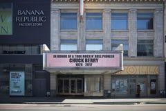 Chuck Berry in memoria del teatro di Apollo del segno immagini stock libere da diritti