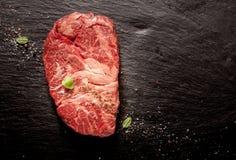 Chuck Eye Steak sazonado crudo Foto de archivo libre de regalías