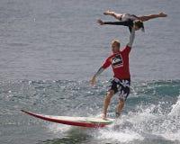 Chuck Inman  & Loren Oiye. Event:  International Tandem Surfing Association World Championship Royalty Free Stock Image