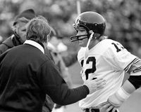 Chuck Noll and Terry Bradshaw. Pittsburgh Steelers head coach Chuck Noll and Terry Bradshaw. (Image taken from B&W negative Royalty Free Stock Image