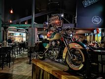 Roadhouse Harley. Chuck& x27;s roadhouse Harley Davidson royalty free stock image