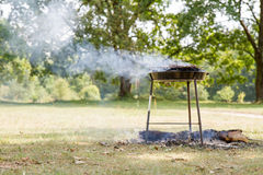 Chuck steak being grilled,. Outdoors Stock Image