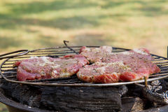 Chuck steak being grilled,. Outdoors Royalty Free Stock Photo