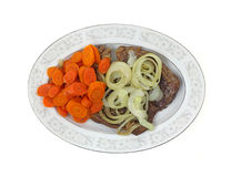 Chuck Steak Carrots Onions Overhead View Stock Photography