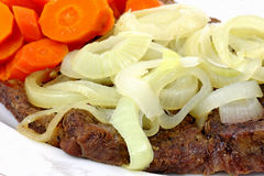 Chuck Steak Carrots and Onions Up Close Royalty Free Stock Photography