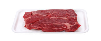 Chuck Steak on Tray Stock Photo
