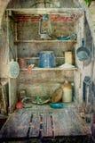 Chuck Wagon Pantry y Cookware cubiertos Foto de archivo libre de regalías