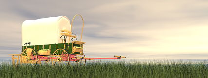 Chuckwagon by sunset - 3D render Royalty Free Stock Images