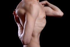 Chuderlawy mężczyzna w joga pozie Zdjęcie Stock