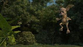 Fantastic character Chudillo flies. Wood inhabitant Chudillo flies on a glade around of the find Stock Photos