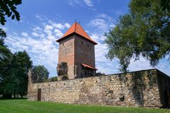 Chudow城堡在波兰西莱亚西区域 库存照片