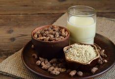 Chufa milk and tigernut flour. Alternative type of milks. Vegan non-dairy milk. Lactose-Free Milk and Nondairy Beverages. Lactose. Intolerance. Gluten free stock photography