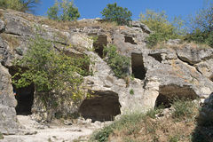 Chufut-Kale, cave settlement in Crimea Stock Photos