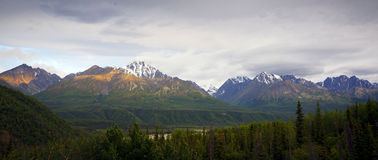 Chugach mountains last frontier Alaska wilderness. Panoramic scenic view of snow capped Chugach mountains in Alaska. U. S. A royalty free stock images