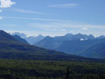Chugach Mountains. From Eureka, high summer in Alaskan royalty free stock photography