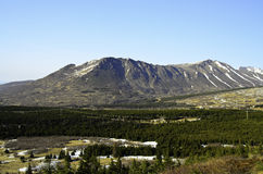 Chugach from the parking lot. A view of the Chugach mountain range from the parking area with snow covered peaks royalty free stock photo
