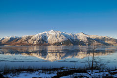 Chugach reflection in Cook Inlet Stock Photos